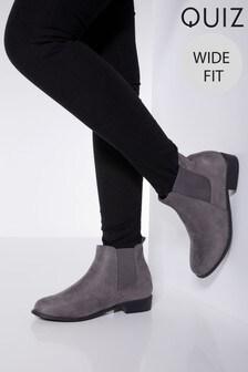 Quiz Wide Fit Diamanté Chelsea Boots