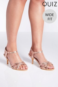 Quiz Wide Fit Shimmer Low Heel Sandals
