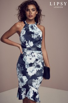 Lipsy Alana Print High Neck Bodycon Dress