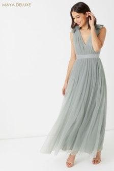 Maya Plain Tulle Maxi Dress