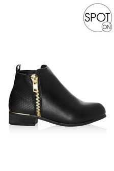 Spot On Girls Metal Trim Ankle Boot