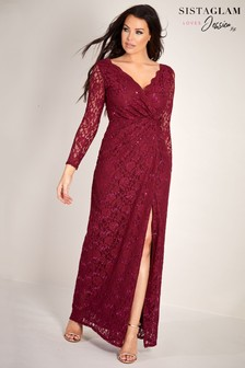 Sistaglam Loves Jessica Sequin Lace Wrap Dress