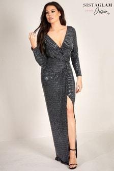 Sistaglam Loves Jessica Glitter Lurex Maxi Dress