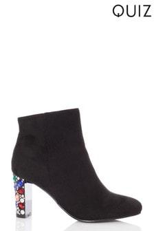 Quiz Faux Suede Jewel Heel Boots
