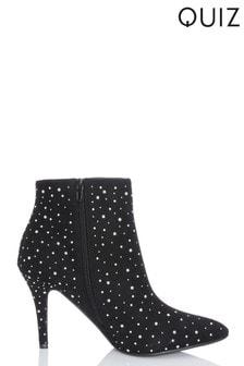 Quiz Diamanté Pointed Toe Stiletto Boot