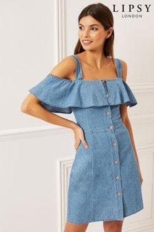 Lipsy Frill Button Lightweight Dress