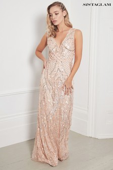 Sistaglam Embellished Sleeveless Maxi Dress
