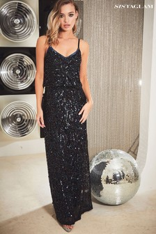 Sistaglam Iridescent Embellished Blouson Maxi Dress