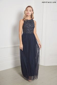 Sistaglam Sequin Chiffon Maxi Dress