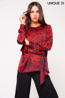 Unique 21 Animal Print Long Sleeve Blouse