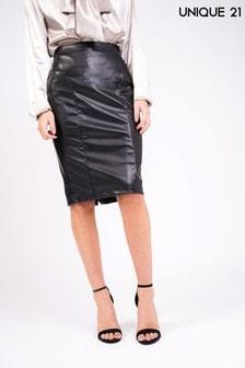Unique 21 Faux Leather Midi Skirt