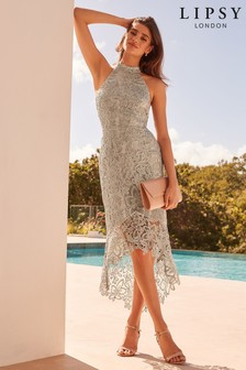 Lipsy VIP Corded Lace Halter High Low Dress
