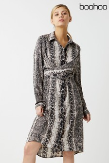 Boohoo Snake Print Long Sleeve Dress