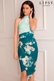 Lipsy Harriet Printed Bodycon Halter Dress