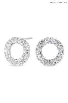 Simply Silver Cubic Zirconia Pave Circle Stud Earring