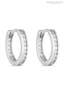 Simply Silver Sterling Silver Cubic Zirconia Hoop Earring
