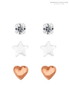 Simply Silver 14ct Rose Gold Plated Sterling Silver Cubic Zirconia Stud Earring Set