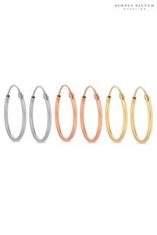 Multi Plated Sterling Silver Hoop Earring Set