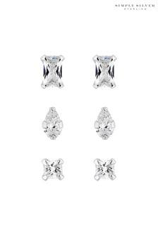 Simply Silver Cubic Zirconia Stud Earring Set