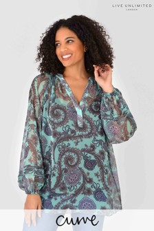 Live Unlimited Curve Mint Paisley Blouse with Jersey Cami
