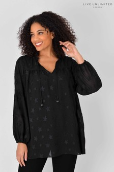 Live Unlimited Curve Black Star Jacquard Top with Cami