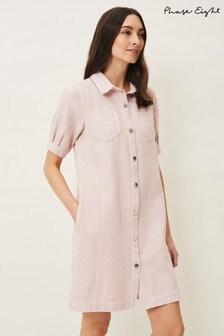 Phase Eight Pink Kiah Puff Sleeve Denim Dress