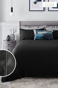 Black 300 Thread Count 100% Cotton Sateen Collection Luxe Duvet Cover and PIllowcase Set