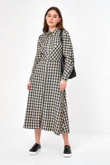 Woven Check Dress