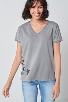 Embellished V-Neck T-Shirt