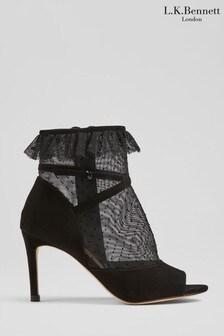 L.K.Bennett Black Juliette Mesh Dot Ruffle Trim Boots