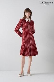 L.K.Bennett Red Mathilde Classic Spot Print Dress