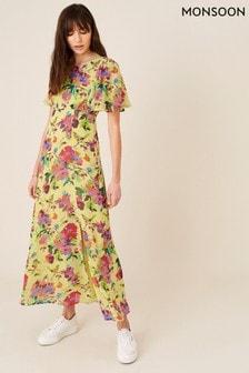 Monsoon Yellow Helen Dealtry Floral Tea Dress