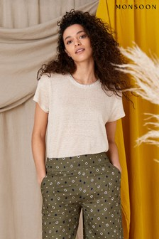 Monsoon Natural Scoop Neck T-Shirt In Pure Linen