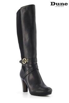 Dune London Black Sabrena Elasticated Buckle Detail Boots