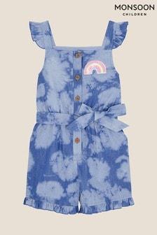Monsoon Blue Sequin Rainbow Tie Dye Playsuit
