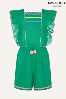 Monsoon Green Fiesta Pom Pom Playsuit