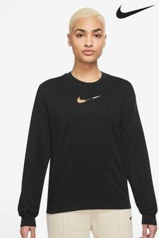 Nike Black Leopard Swoosh Boxy Long Sleeve T-Shirt