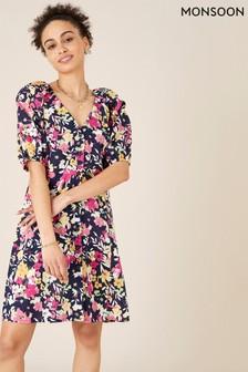 Monsoon Blue Floral Linen Blend Dress