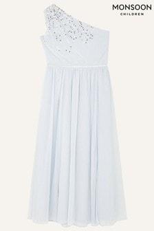 Monsoon Blue Sequin One Shoulder Prom Dress