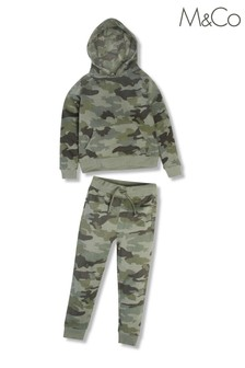 M&Co Green Camouflage Hoodie And Joggers Co-ord Set