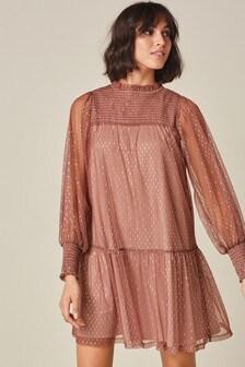 Shirred Volume Sleeve High Neck Dress