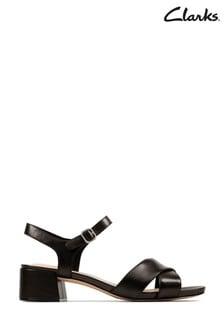 Clarks Black Leather Sheer35 Strap Sandals