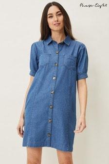 Phase Eight Blue Kiah Puff Sleeve Denim Dress