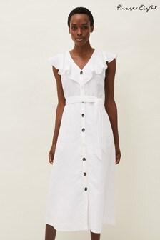Phase Eight White Jemima Linen Blend Shirt Dress