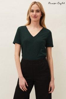 Phase Eight Green Elspeth V-Neck Cotton T-Shirt