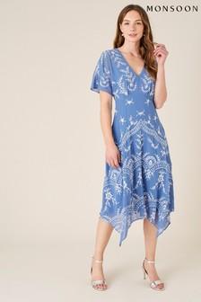 Monsoon Daisy Embroidered Hanky Hem Dress
