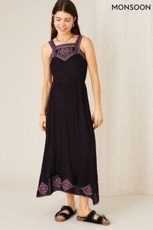 Monsoon Embroidered Jersey Hanky Hem Dress