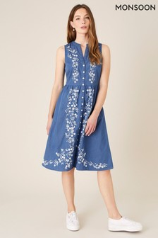 Monsoon Floral Embroidered Dress