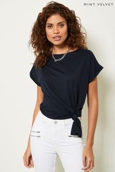 Mint Velvet Navy Long Side Split T-Shirt