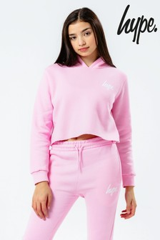 Hype. Baby Pink Cropped Hoodie And Jogger Set